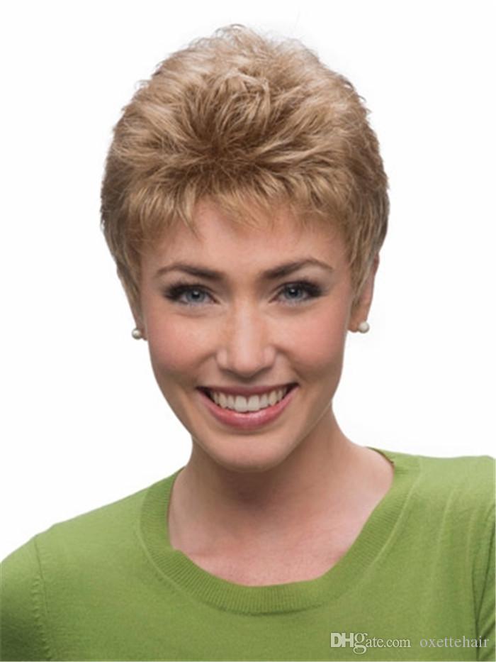 peluca de pelo corto mullido rubio claro Peluca de moda peluca sin resorte de la fibra sintética resistente al calor para mujeres