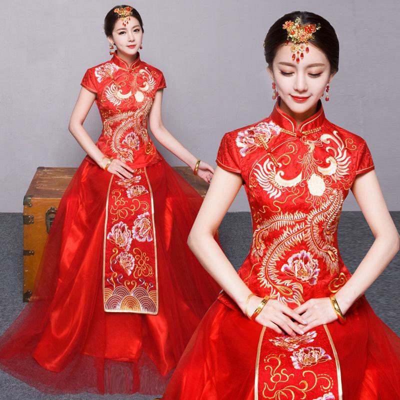 2018 nouvelle robe de mariée à manches courtes rouge chinoise, vin chinois et robe en satin.