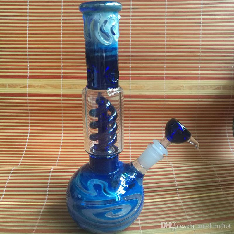 New Design Colorful Stripes Glass Bongs for Sale High Quality Blue Smoking Water Pipe Hookah Filter Pipe 11 Inches Tall