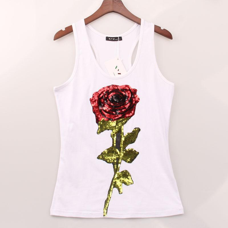 Woman Tops Summer T Shirts For Women's Sleeveless Sequined Flower Rose T -shirt Female Shirt Lady Harajuku T-shirts