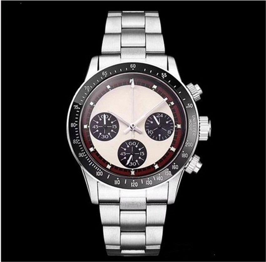 Acero cronógrafo de los hombres de la vendimia perpetuo Paul Newman japonesa de cuarzo de acero de los nuevos hombres del reloj para hombre Relojes de pulsera