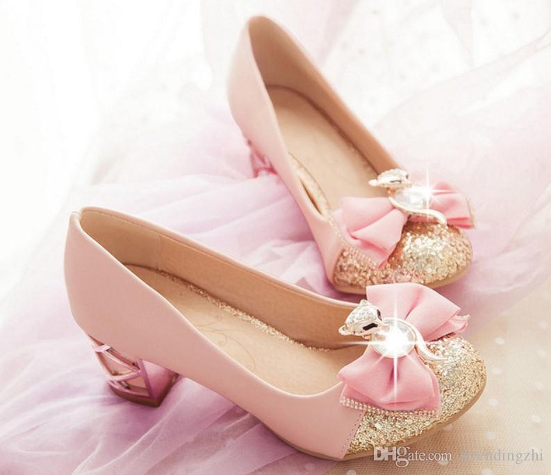 Envío gratis nuevo estilo 2018 primavera talón medio de las mujeres zapatos individuales bowknot princesa zapatos