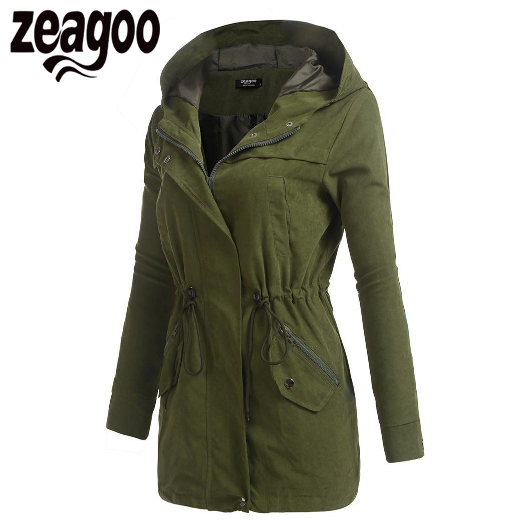 Compre Zeagoo 2018 Chaqueta Mujeres Otoño Invierno Chaqueta De Bombardero  Abrigo Casual Zip Up Sólido Cordón Con Capucha Con Bolsillo A  36.64 Del ... b9b25d11d2aa