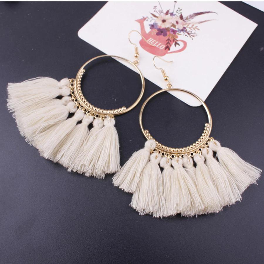 Lacoogh ethnische Böhmen Tropfen baumeln lange Seil Fringe Baumwolle Quaste Ohrringe Trendy Sektor Ohrringe für Frauen Modeschmuck 20pairs