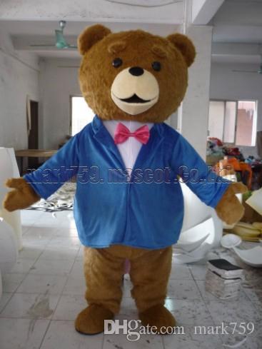 El traje azul de la mascota del juego del oso de peluche envío libre del tamaño adulto, oso lujoso del partido del carnaval del juguete de la felpa celebra ventas de la fábrica de la mascota.