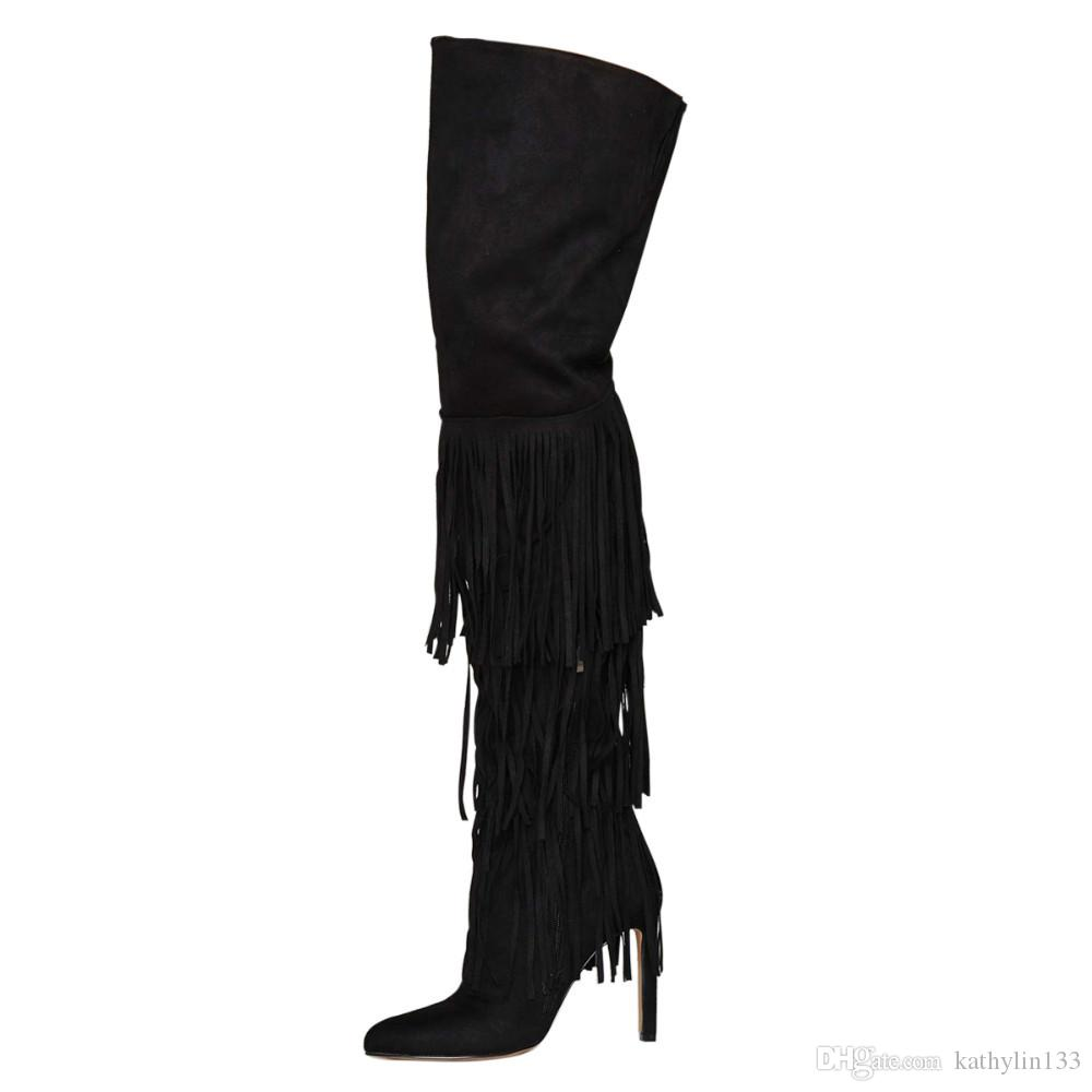 2018 New Fashion Leather Over Thigh-high Customized Black Women Round toe high heels Tassel Boots Winter Boots Party shoes Free Shipping