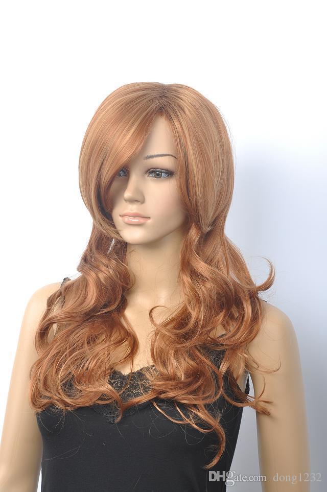 USJF66 pretty long Blonde mix light brown Wavy hair Wig wigs for women