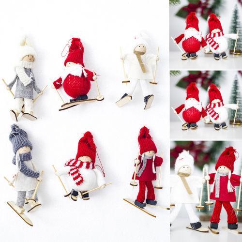 Venta al por mayor 1 UNIDS Esquí de Lana de Santa Muñeco de Nieve Muñeca Colgando Adornos de Árboles de Navidad Colgantes Decoración de Navidad