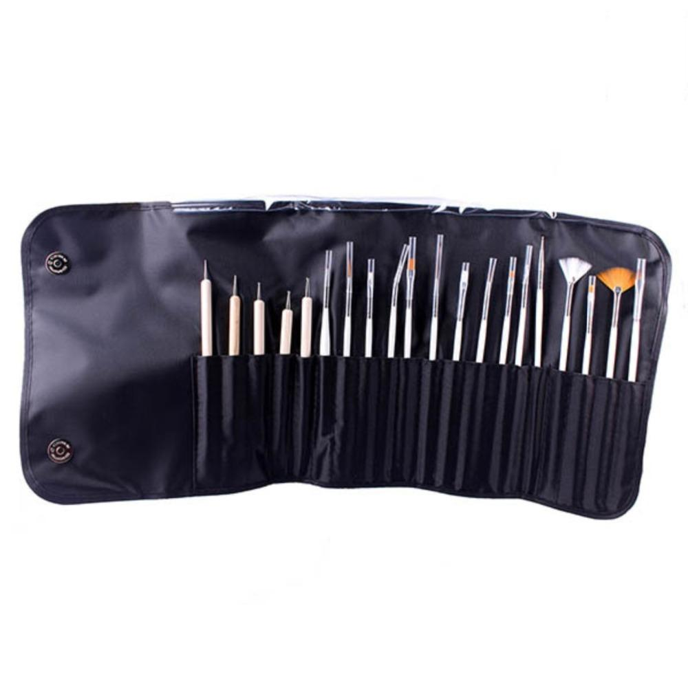 20pcs Nail Art Decorations Brush Set Tools Professional Painting Pen For False Nail Tips Uv Nail Gel Polish With Cosmetic Bag