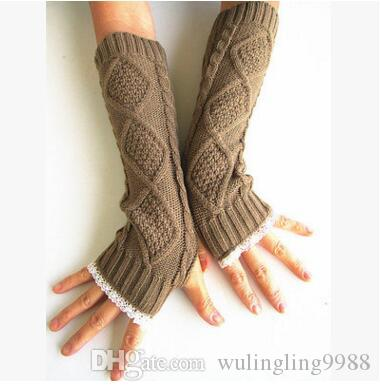 Spitze Frauen Handschuhe stricken Armstulpen Womens Fingerlose Strickhandschuhe Handgelenk Winter Damen lange fingerlose Armstulpen Handschuhe 7 Farben