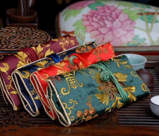 Fine Broderie Fleur Soie Bijoux Rouleau Sac Pliant Portable Grand Femmes Cosmétique Sac De Rangement Drawstrubg Maquillage Voyage Sac 10 pcs / lot