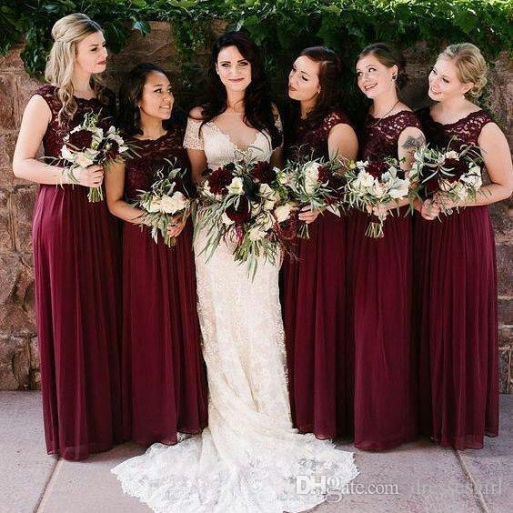 Burgundy Chiffon Bridesmaid Dresses Elegant Lace Top Sleeveless Pleated Floor Length A Line Garden Wedding Party Gowns