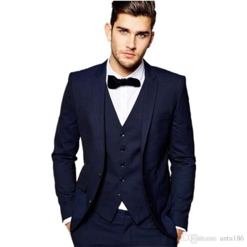 Özelleştirilmiş yeni erkek takım elbise üç parçalı takım elbise (ceket + pantolon + yelek) erkek iş resmi takım elbise düğün damat groomsmen elbise
