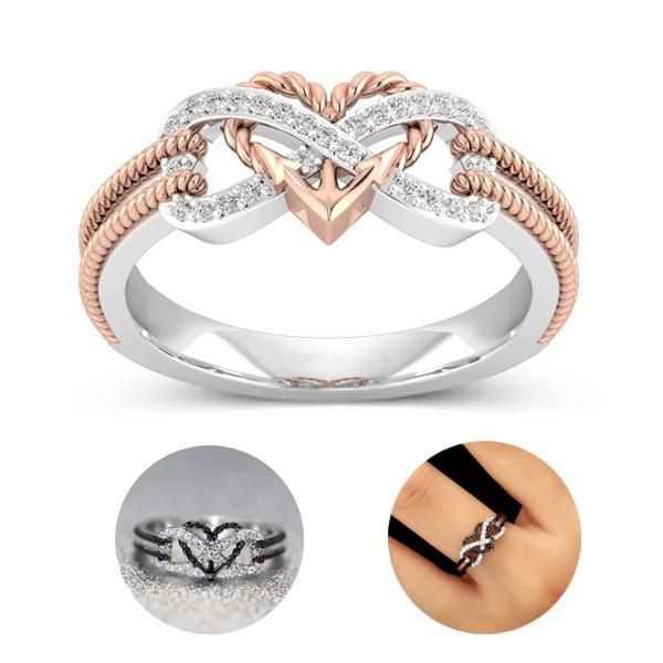 2018 fashion New Sterling Silver Infinity Heart Shape Promise Ring Couple Rings Simple Hollow Charm Jewelry