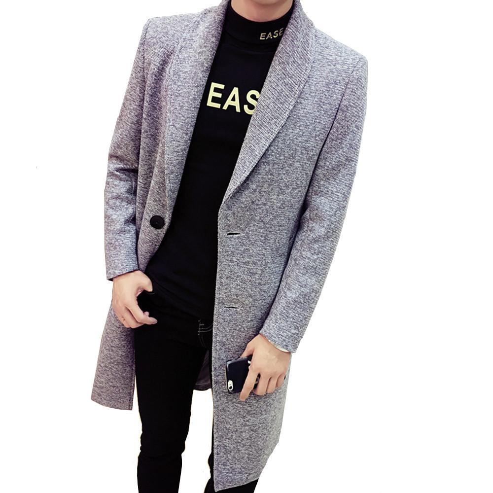 Automne et Hiver hommes coupe-vent Solide Couleur revers long manteau de laine Fashion Slim britannique Homme Veste coupe-vent Big Taille 4XL