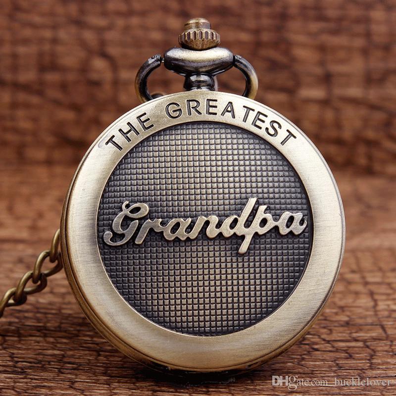وصول جديد العتيقة أعظم الجد برونزية كوارتز الجيب ووتش قلادة سلسلة الرجال أعلى جودة أفضل الهدايا