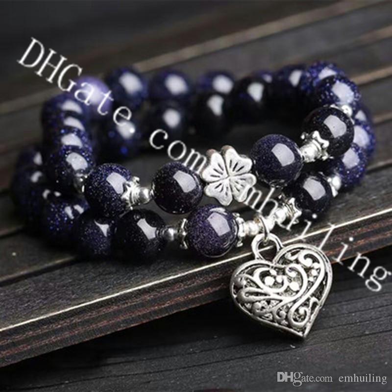 10Pcs 10mm Sparkly Blue Sandstone Bead Tibetan Silver Love Heart Charm Pendant Elastic Stretch Bracelet Valentine's Day Gift for Male Female