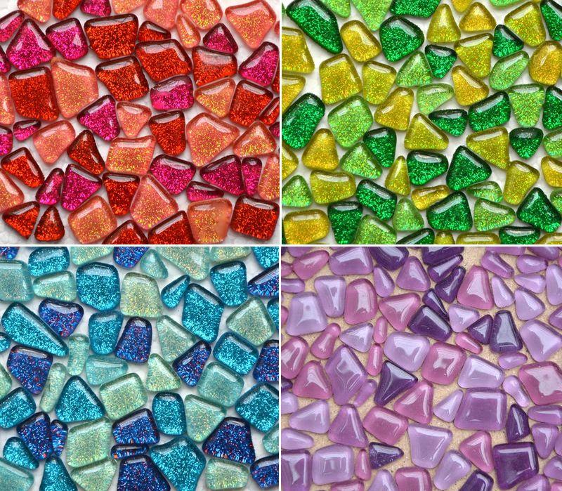 Nuevo diseño Glitter Glass Mosaic Beads Mármoles planos Mosaico de vidrio irregular Azulejos para maceta Florero Linterna Acuario Jardín Decoración