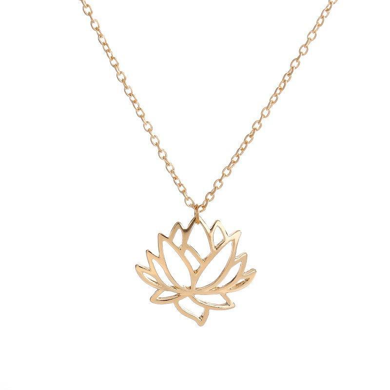 la venta del nuevo collar de la joyería de loto ahuecado oro, plata, chapado en cadena de la planta Lianhua colgante de collar de aleación de joyería al por mayor
