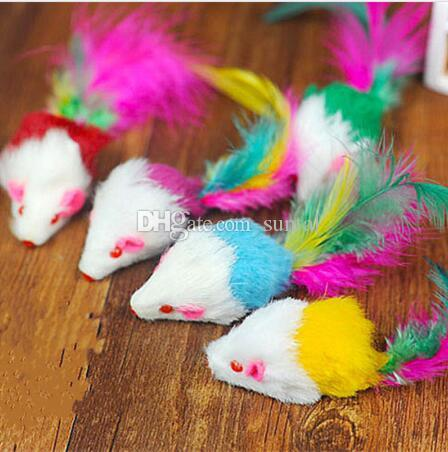 Pet supplies Funny cat cat and mouse with color tail plush cats love rats The cat toys on sale