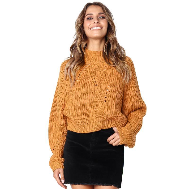 Женщины трикотажные топы корейский мода свитер стенд воротник с длинным рукавом туника твердые трикотаж пуловер Женский трикотаж серый / оранжевый