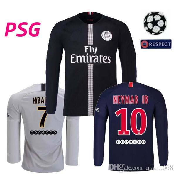 best service 4d58e f0157 2019 2018 2019 Champion League Psg Long Sleeve Soccer Jersey MBAPPE  Maillots 18 19 Paris CAVANI Saint Germain Maillot De Foot Football Shirt  From ...