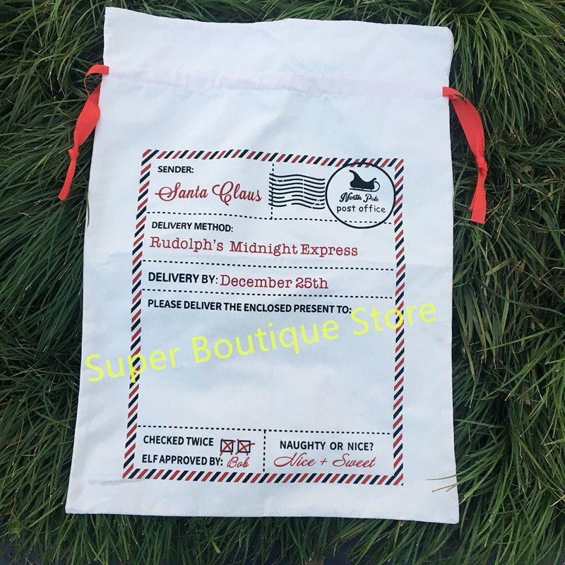 Wholesale Monogrammed Candy Cane Stripe Christmas Sack Personalized Stripe Christmas Gift Sacks Santa Bags