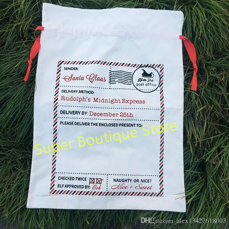 Wholesale Monogrammed Candy Cane Stripe Christmas Sack Personalized Stripe Christmas Gift Sacks Santa Bags