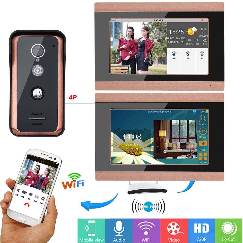 7 pulgadas 2 monitores con cable Wifi Video de la puerta del timbre del teléfono sistema de entrada de intercomunicación con 1000TVL cámara IR-CUT con cable de visión nocturna, compatible con la aplicación remota