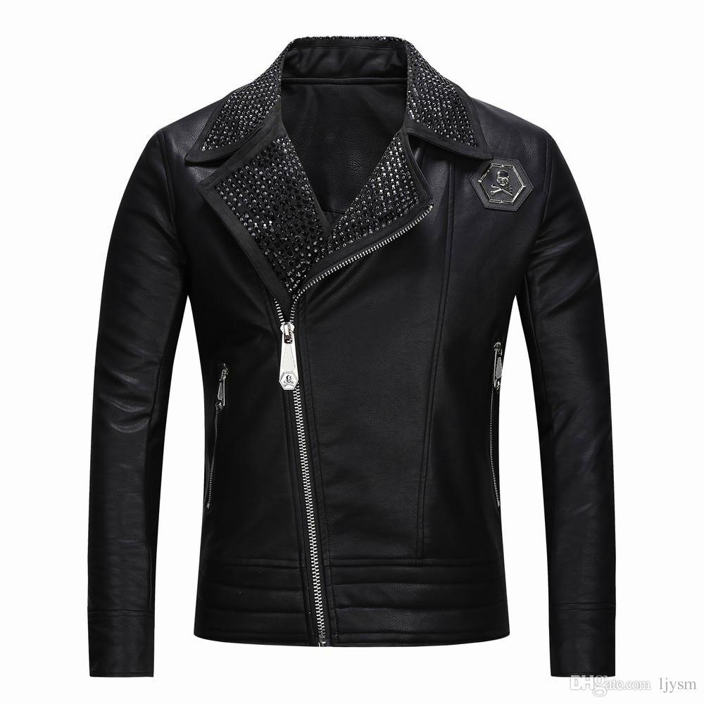 جديد بو سترة 2018 ، معطف الجمجمة ، معطف جلد الرجال 8640 #