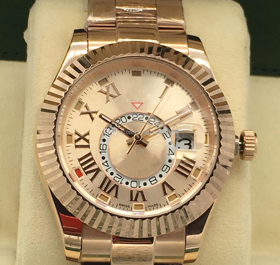 Orologio di lusso di alta qualità Sky Dweller in oro rosa 18k Bracciale in oro quadrante 326935 meccanico automatico Mens Orologi romano digitale