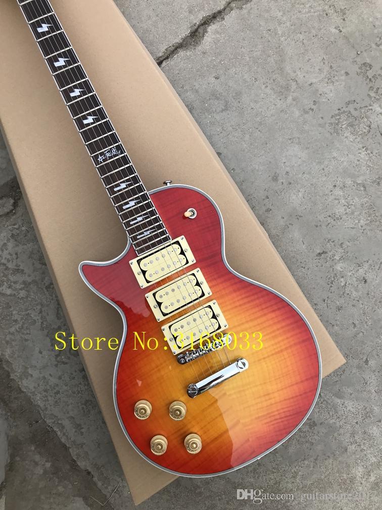 Sunburst Burst ACE 3 Pickups Chitarra elettrica a mano sinistra Mahogany Body OEM China Guitars