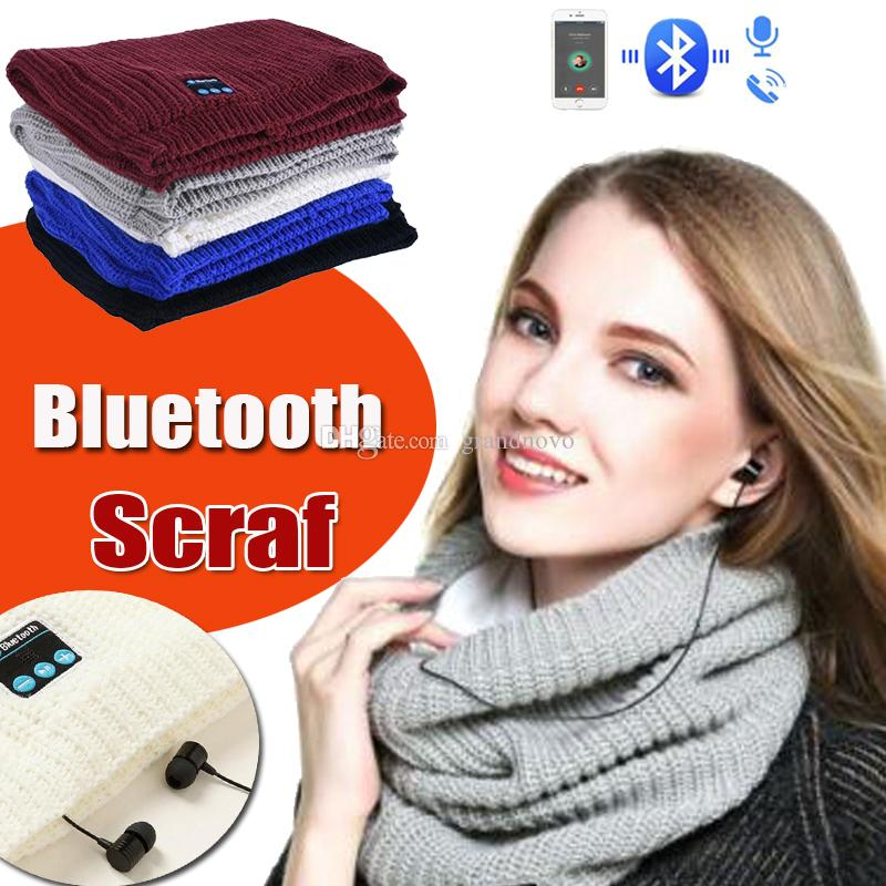 Wireless Bluetooth Scarf Unisex Warm Neckerchief Scarves Knitted With Bluetooth Stereo Ring Earphones Speaker Mic Winter For Smart Phone