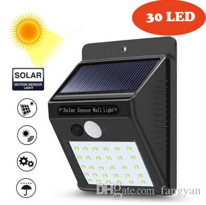 30 LED Solar Light Motion Sensor Fence Lamp Home Garden Solar Powered Wall Light Lamp Court Balcony Light Outdoor Waterproof Lamp 2pcs