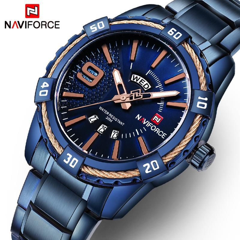 NAVIFORCE Fashion Casual Brand Waterproof Quartz Watch Men Military Stainless Steel Sports Watches Man Clock Relogio Masculino S921