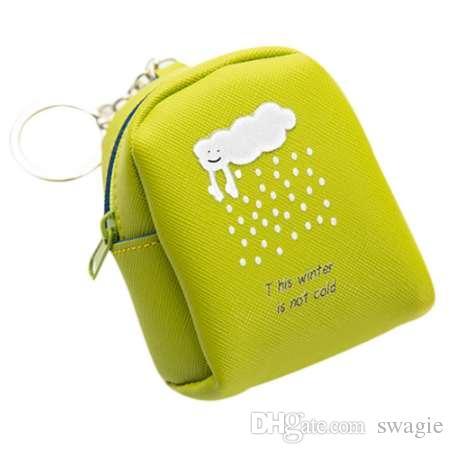 portachiavi in pelle Donna Bambina Carino Moda Snack portafogli chiave Cambia Pouch anime design porta moedaWZZ123