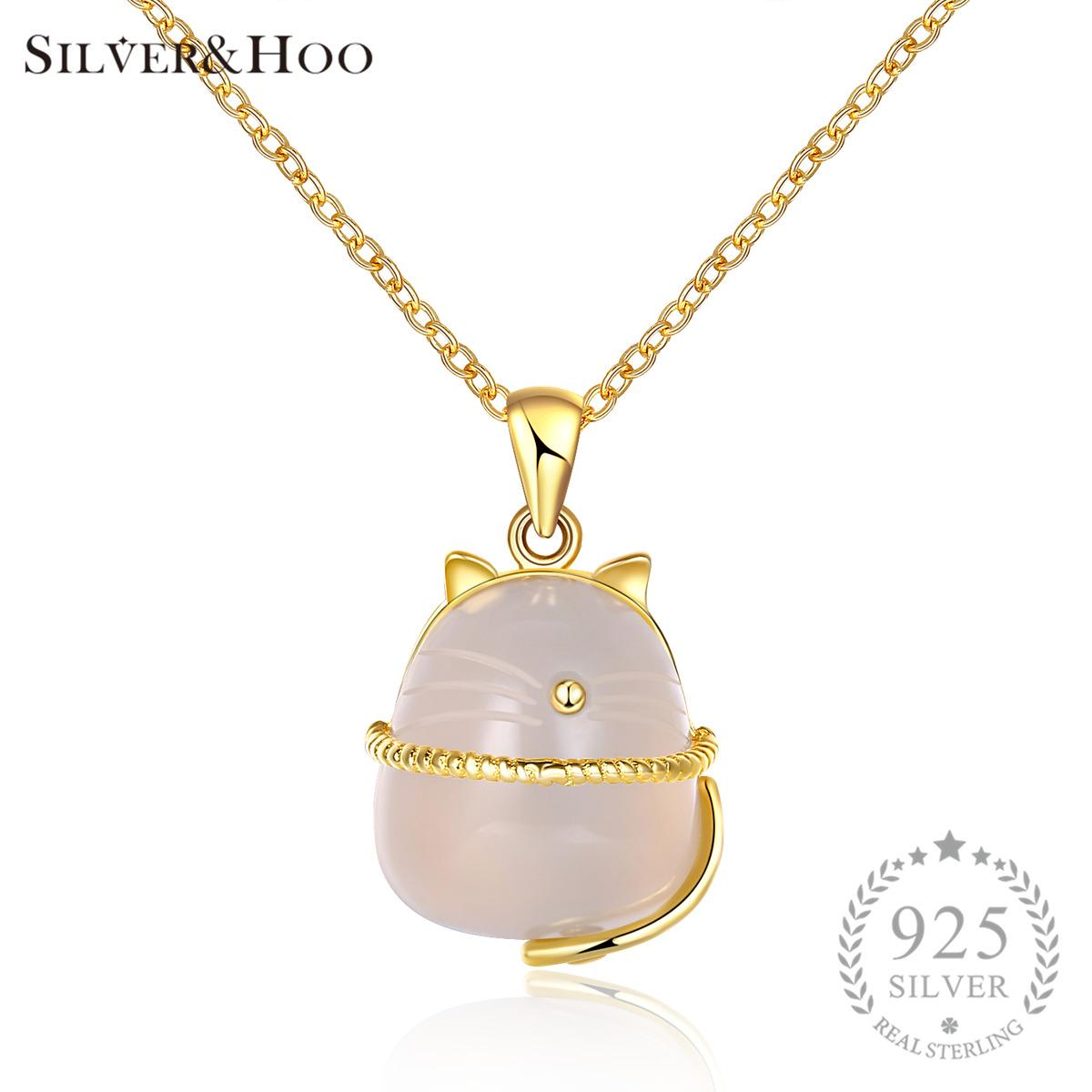 SILVERHOO Pendant Necklace Lovely Cat Moonstone 2017 New Design 925 Sterling Silver Gift for Child Women Fine Jewelry Y1892806