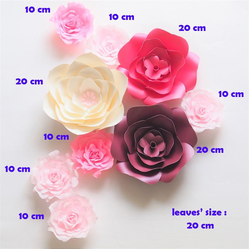 Dev Kağıt Çiçekler Zemin Yapay El Yapımı Krep Kart Stoper Kağıt Düğün Parti Deco Ev Dekorasyon Için Gül 9 ADET