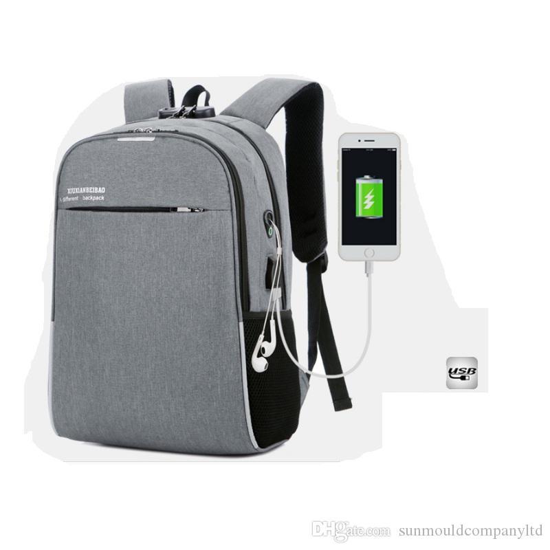 Yeni Yüksek Kalite Kadınlar Için USB Sırt Çantası Kızlar 15.6 inç USB Mochila Okul Sırt Çantası Erkekler Için Bagpack Otxb Laptop Çantası Seyahat Moda Erkek RTTO