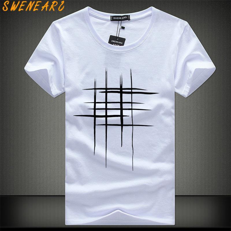 2018 простой творческий дизайн линии крест печати хлопок футболки мужские новое прибытие летний стиль с коротким рукавом мужчины футболка