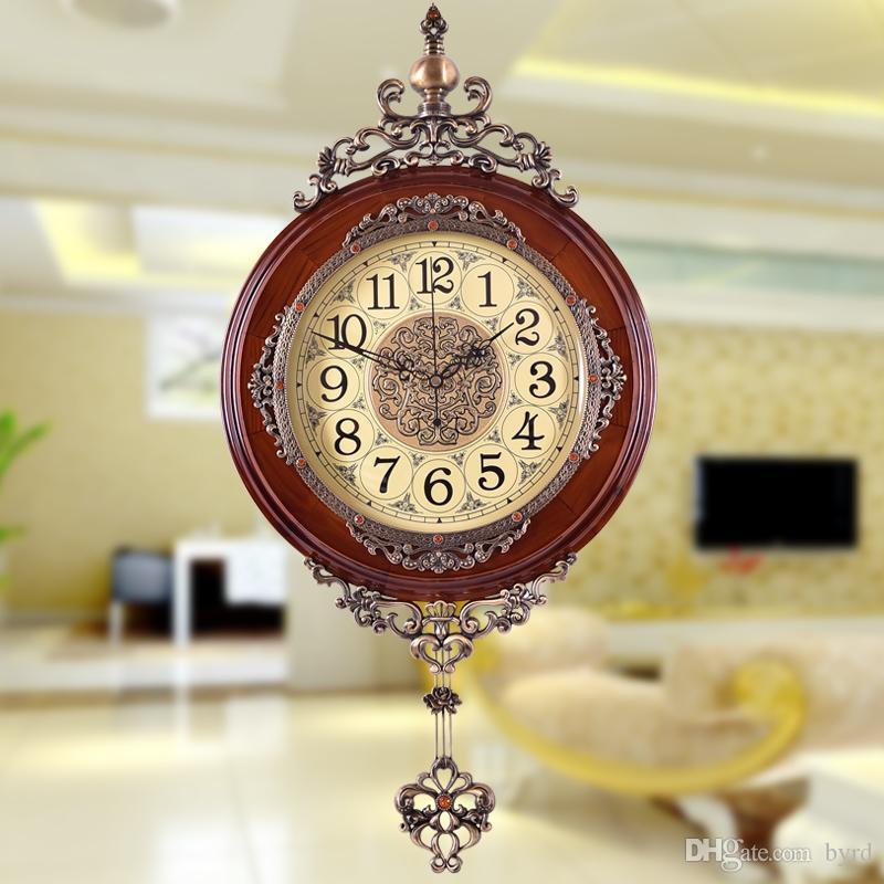 Mute Wanduhr europäischen und amerikanischen Stil Wohnzimmer Uhr mit Pendel 0201014