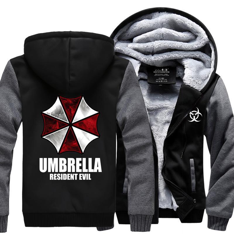 남성을위한 도매 - 겨울 운동복 2017 겨울 양털 Thicken Hoodies 주민 Evil hoodies 우산 인쇄 Jacket Coat Men 's Sportswear