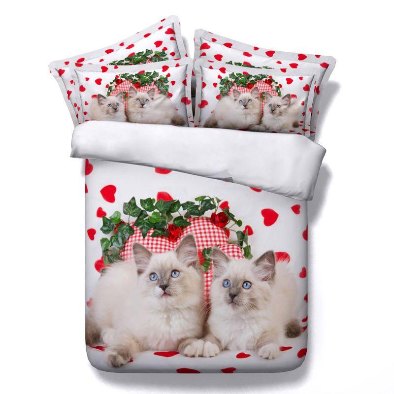 gato 3D conjuntos de cama gatinho cheia edredon cobrir colchas românticas Lençois filhos gêmeos para meninas Quilt Covers amor coração do casamento Pillow Shams
