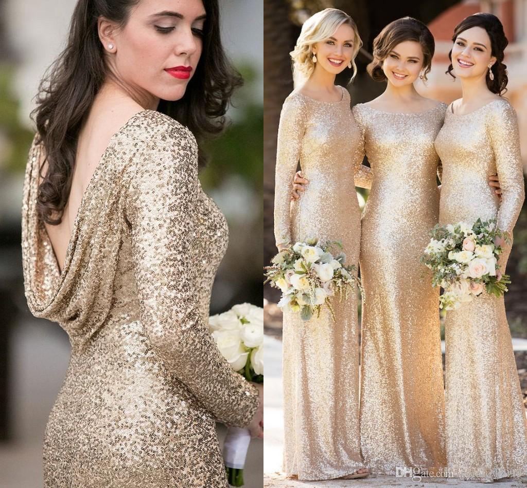 Sparkly Champagner Pailletten Brautjungfernkleider mit langen Ärmeln 2018 Plus Size Mantel Zurück Trauzeugin Hochzeitsgast Kleid Billig