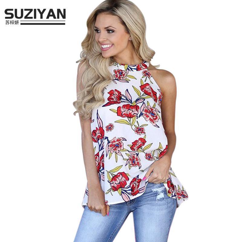 T Shirt Femmes 2018 Nouvelle Mode Sans Manches Sexy Imprimer régulière En Mousseline de Soie Chemise Casual Plus La Taille D'été Femmes