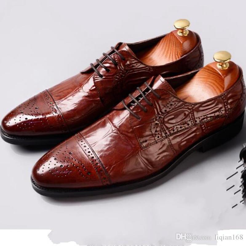 men business shoes genuine leather dress shoes mens wedding shoes lace-up Dress Crocodile grain Oxford 3 color