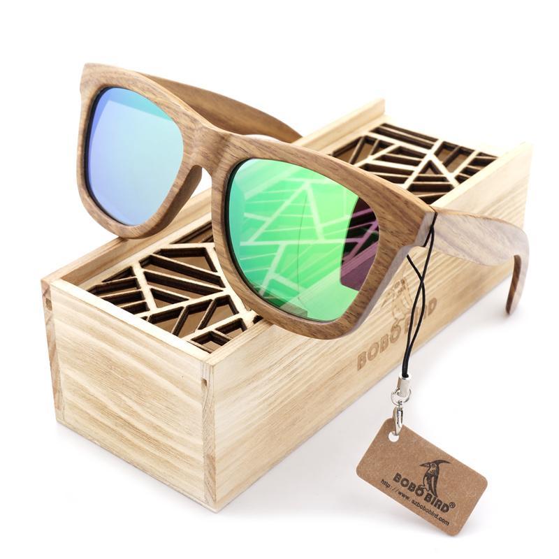 BOBO BIRD Men Women Sunglasses Fashion 100% Handmade Wooden Sun glasses polarized Design Summer Style Ladies Eyewear in wood box D18102305
