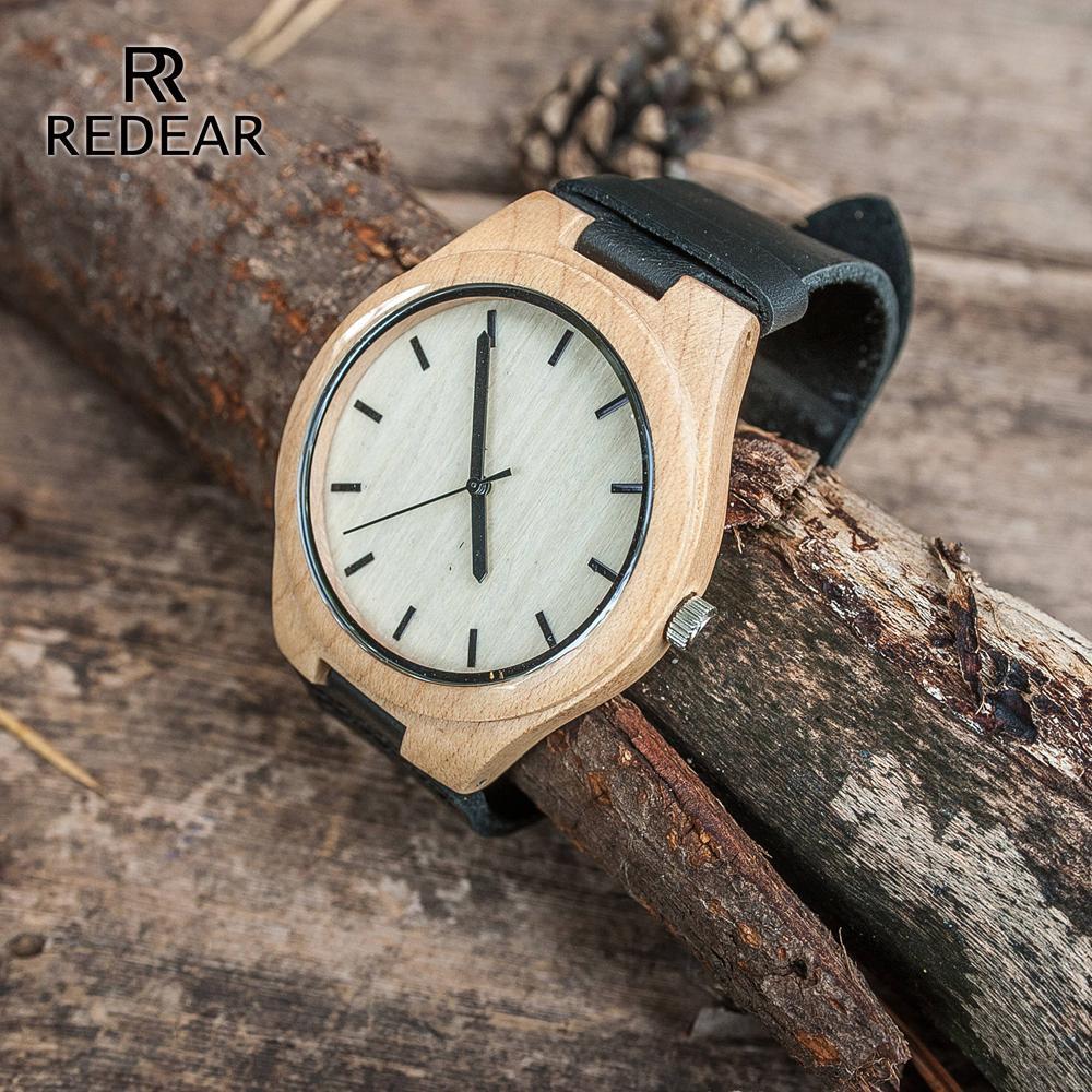 بيع شحن مجاني حار بدون خشب القيقب جلد رجل ساعة نمط الأسود عالية الصف الساعات لبيع الهدايا للرجال