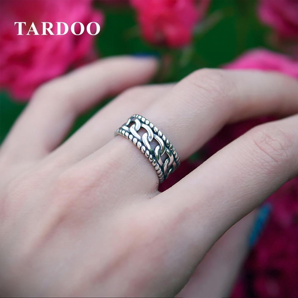 Кольца Tardoo подлинные открытия стерлингового серебра женщин пряжки старинные тонкий палец кольца серебро 925 JewelryY1882803
