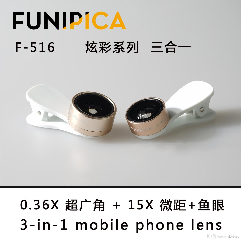 180 Degree Fisheye Lens+0.36X Super Wide Angle Lens+15X Macro Lens, 3 in 1 Clip On Fisheye Lens Kit for Samsung for iPhone 7 6s Light Lens